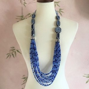 Chico's Blue Mary Swag Statement Necklace